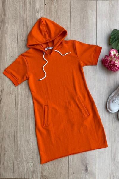 Rochie Dama cu gluga 8976 Orange Adrom
