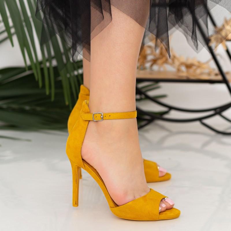 Sandale Dama cu Toc subtire GH1962 Yellow Mei