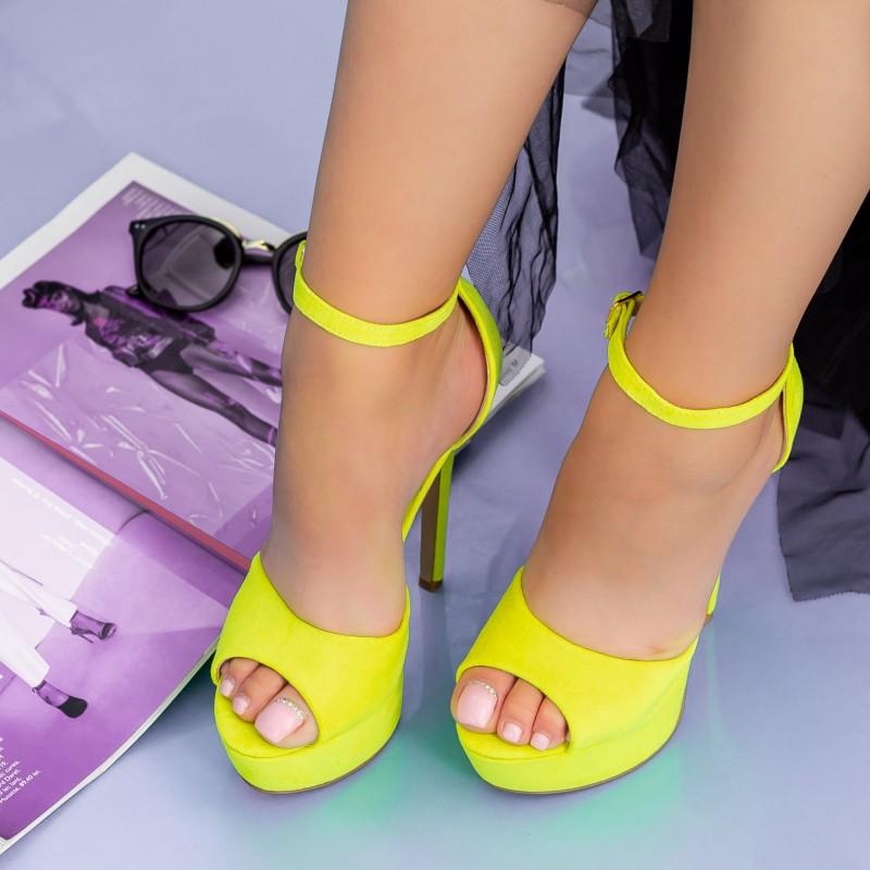Sandale Dama cu Toc subtire si Platforma XKK207 Yellow Mei