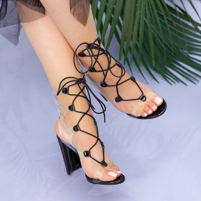 Sandale Dama cu Toc gros XKK213 Black Mei