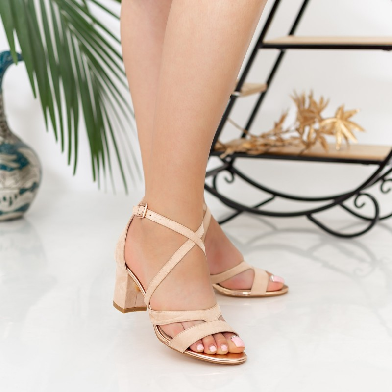 Sandale Dama cu Toc gros XDR275 Nude Mei