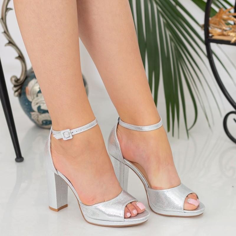 Sandale Dama cu Toc gros XKK223B Silver Mei
