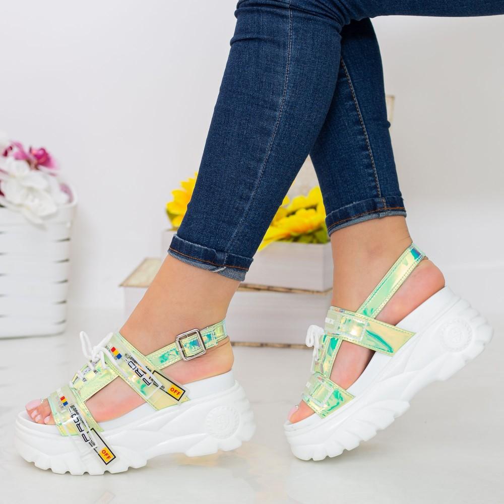 Sandale Dama cu Platforma LT179 Yellow Mei